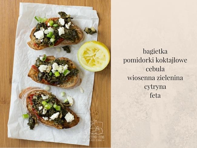 Bruschetta z wiosenną zieleną/ Chilli, Czosnek i Oliwa