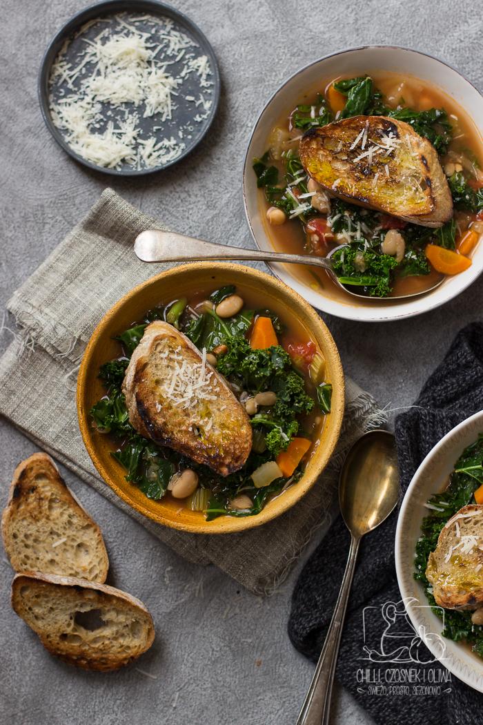 ribollita, zupa z kapustą i fasolą - Chilli, Czosnek i Oliwa