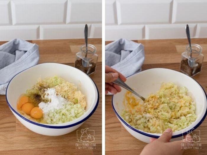 Placki z ziemniaków i łodygi brokuła z serem wędzonym (przepis krok po kroku)