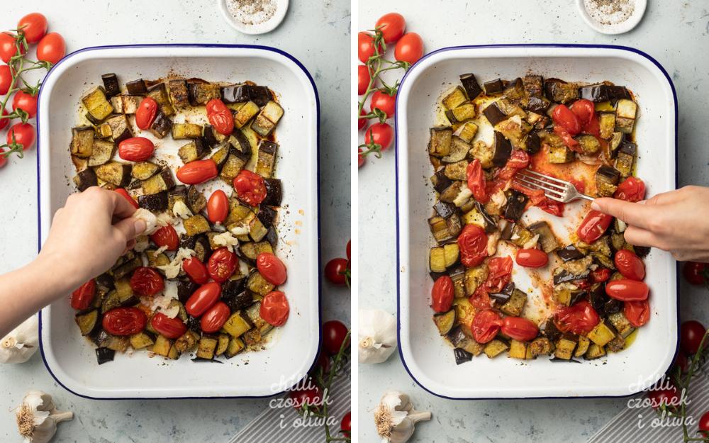 Makaron z pieczonym bakłażanem, pomidorkami i Burratą