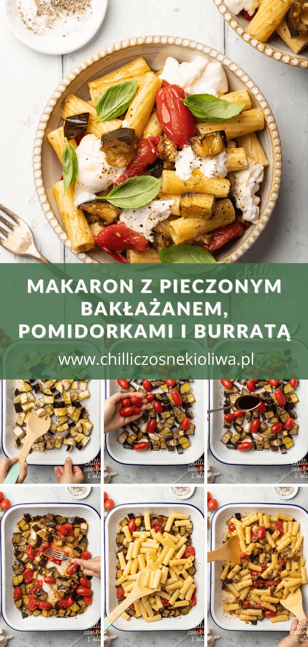 Makaron z pieczonym bakłażanem, pomidorami i Burrata - Pinterest